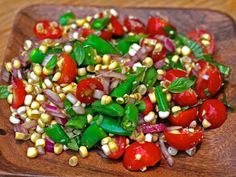 Dinner Tonight: Amagansett Raw Corn, Tomato, and Snap Pea Salad Recipe on Yummly