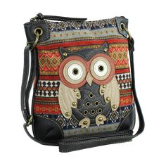 Orange Messenger Bag w/ Studded Patchwork #Owl Applique, Tribal Crossbody Purse: Handbags: ~Amazon.