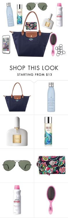 """""""What's in my bag!"""" by nc-preppy ❤ liked on Polyvore featuring Longchamp, Drybar, Tom Ford, SK-II, Ray-Ban, Vera Bradley, Evian, LifeProof and Monki"""