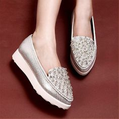 I like these for some reason. Flats Shoes | Shiny Silver PU Pointy Closed Toe Low Heel Flats - Hugshoes.com