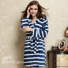 Fabulous Elegant Blue White Stripe Design hooded Bathrobe with Belt $35