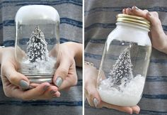 DIY Wedding Projects for Winter Brides Snow Globe Decor 2 and Reception, Styles, Wedding Projects, Diys, Wedding Snow Globe Crafts, Diy Snow Globe, Christmas Snow Globes, Christmas Mason Jars, Christmas Gift For You, Christmas Crafts For Kids, Christmas Diy, Christmas Bowl, Holiday Crafts