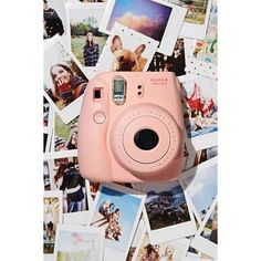 Fujifilm Instax Mini 8 Instant Camera ($70) via Polyvore featuring camera, electronics, pink, other, polaroid and filler