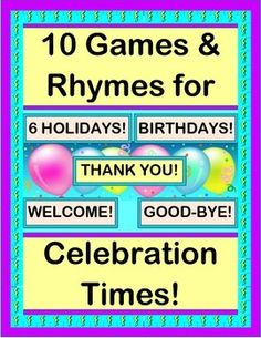 """Celebrate BIRTHDAYS and SIX HOLIDAYS! Make ANCHOR CHARTS for Morning Work! Say """"WELCOME"""" to a new student, """"GOOD-BYE"""" to a departing one, or """"THANKS"""" to a class visitor. Use the CRAFT TEMPLATES to make 'props' for the 6 Holiday Rhymes. (14 pages) GROUP GAME FUN from Joyful Noises Express TpT! $"""