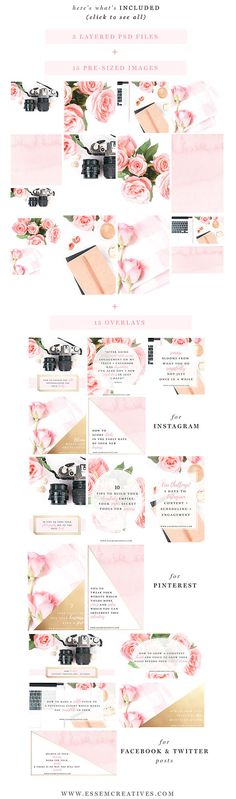 Pink Gold Black Social Media Templates, Photography Marketing Templates, Instagram, Styled Desktop Stock Photos, Feminine Business Branding, Blog Header, Hero Image  Pink Gold Black Social Media Templates are for social media branding & blog / website posts. With this kit, you can look stylish and professional, even if you dont have a dedicated graphic design team. If you have been thinking about increasing your social media following & growing your brand, then look no further. T...
