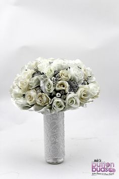 Stunning Ivory, white and cream toned Mixed Media Bouquet by Nic's Button Buds.