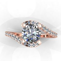 14K Rose Gold Diamond Ring with White Sapphire Center from Eternity Collection