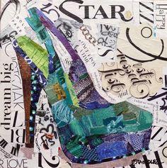"""Dream Big 13058"" - High Heel Shoe torn paper collage Original Fine Art for Sale - © Nancy Standlee"