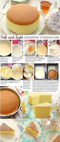 SugaryWinzy suave y ligero como el aire japonés pastel de queso Soft like a pillow and light as air, diet-friendly Japanese cheesecake delivers a delicious rich flavor of cream cheese with a subtle tanginess of lemon that won't compromise your diet. Just Desserts, Delicious Desserts, Dessert Recipes, Yummy Food, Healthy Food, Brunch Recipes, Light Desserts, Asian Desserts, Party Recipes