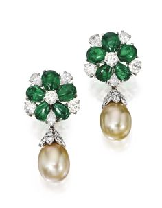 Pair of Platinum, Emerald, Diamond and Cultured Pearl Pendant-Earclips, Bulgari - Sotheby's