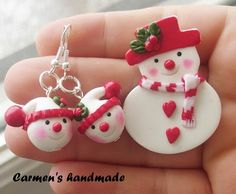 Carmen's finished snowmen pin and earrings from her tutorial - Fimo, Cernit et accessoires : http://www.creactivites.com/236-pate-polymere
