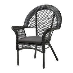 IKEA - LÄCKÖ, Fauteuil avec coussin, extérieur, Plastique tressé à la main, imitation rotin. A le même aspect que le rotin naturel mais résiste à une utilisation à l'extérieur.Les matériaux de ce meuble d'extérieur ne nécessitent aucun entretien.Nettoyage facile - passer un chiffon humide.La housse du carreau de chaise est amovible et lavable.