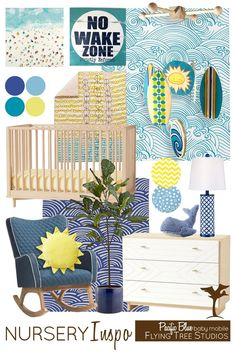 This design board is inspired by our Pacific Blue wooden baby mobile that includes surfboards, sun and a wave. With modern patterns and a c,lean beachy vibe, this collection of teals and blues will create a fun space for a baby boy or girl.