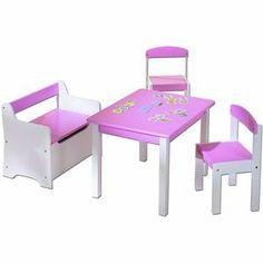 Ensemble table, banc, 2 chaises enfant, bois, rose et blanc sur mistergooddeal.com