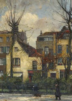 'Old Houses in Cheyne Walk, Numbered 43–46', oil paint on canvas by William Edward Fox. #PaintedLondon