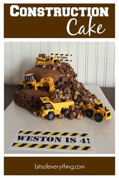 """Happy birthday to our Weston this week! He is now 4 years old! Here's how I made this Construction Birthday Cake for him. I used a chocolate cake mix and cooked it in one 9"""" round cake pan and one sm"""