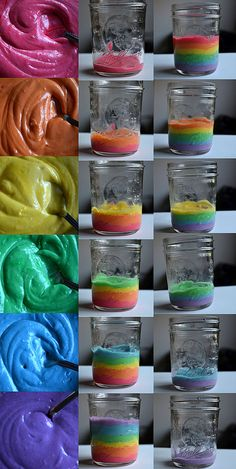 rainbow cake in a jar recipe-we used to send the boys their birthday cakes in jars but this is adorable