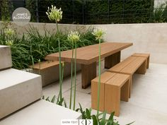 contemporary dining area for the garden by james aldridge design, pale stone, warm wood and delicious planting
