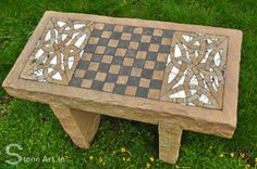 One-off natural stone and mosaic chess table by Sunny Wieler. For Sale! One-off natural stone and mosaic chess table by Stone Art ( AKA Sunny Wieler) This coffeetable hight (550mm high) outdoor chess table is carved from solid sandstone with mirror and glistening gold quartzite Celtic knot mosaics. Table top size 900mm x 450mm. For sale €1200. Delivery fee may apply depending on your location. Email: info@stoneart.ie