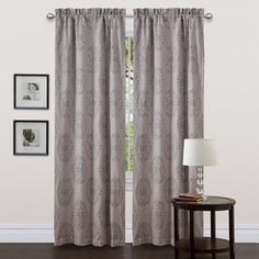 @Overstock - Lush Decor Grey 84-inch Empire Curtain Panel - Decorate your home with this jacquard panel with damask pattern. Rod pocket slides onto curtain rod for easy installation.   http://www.overstock.com/Home-Garden/Lush-Decor-Grey-84-inch-Empire-Curtain-Panel/6537322/product.html?CID=214117 $27.49