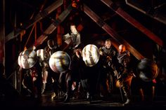 King Henry (Zach Appelman, top) leads his men in the Battle of Agincourt. Henry V, Folger Theatre, 2013. Directed by Robert Richmond. Photo taken by Scott Suchman.