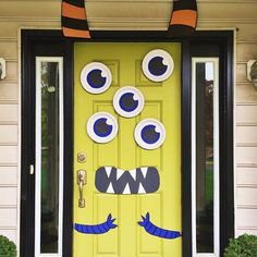 Decorate your door for Halloween to make it look like a monster with this DIY project.