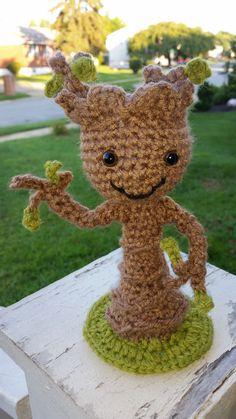 crochet BABY GROOT.         to order https://www.facebook.com/DeniseOriginalCrochetedCreations?ref=hl
