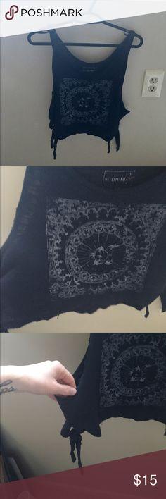 Free people crop boho tank size S Free people cute boho printed crop tank with ties on sides . EUC Free People Tops