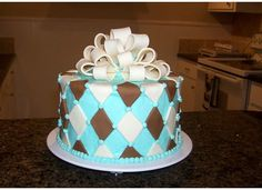 Plaid blue, chocolate and white Design Cupcake Cakes, Cupcakes, Small Wedding Cakes, Blue Chocolate, Birthday Cake Decorating, Occasion Cakes, Special Occasion, Goodies, Triangles