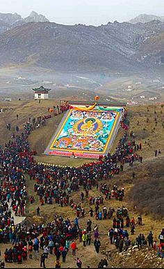 """Huge Tibetan Buddhist Applique' Thangka, Tibet. To see one in person is """"tendrel"""" (liberation throughh seeing)."""