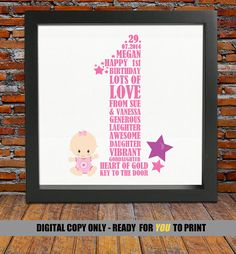 Personalized 1st Birthday Gift First 1 Year Old For