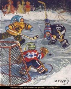 Dig: 24672 - Pauline Paquin Hockey Drawing, Illustrations, Illustration Art, Hockey Goalie, Winter Painting, Small Paintings, Sports Art, Tole Painting, Winter Holidays