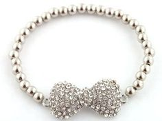 Ladies Silver Iced Out Bow Bracelet...