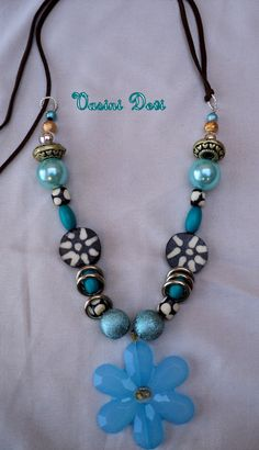 Blue Divine flower handmade necklace by Vasinidevidesigns on Etsy