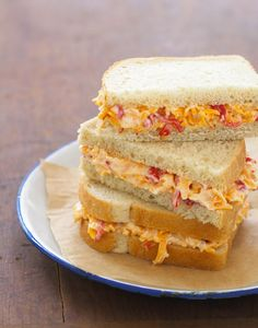 In The Kitchen With: AuntT Sissy Si's Pimento Cheese Sandwich | About six weeks ago, I noticed a flurry of adoration for the Pimento Cheese Sandwich on Twitter. When I called it out as being soooo Southern Living 1978, the folks over at the Washington Post food section and Atlanta-based food blogger Broderick told me I needed to get out more. | From: designsponge.com