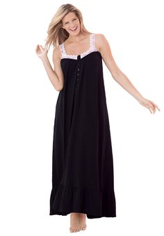 Plus Size Long sleeveless knit gown by Dreams & Co® | Plus Size sleep gowns | Woman Within