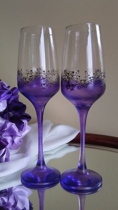 Set of 2 hand painted champagne flutes by PaintedGlassBiliana, $32.00