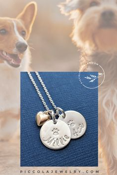 Our sterling silver dog or cat paw print charm necklace can be personalized with your special pet's name - the perfect gift for the dog and/or cat Mom in your life! The puffed gold fill heart charm is a little reminder of the place animals have in your heart. Each piece is made just for you by hand with a hammer and metal alphabet stamps - not engraved. Family Necklace, Name Necklace, Cat Paw Print, Alphabet Stamps, Cat Paws, Pet Names, Personalized Jewelry, Heart Charm, Hand Stamped