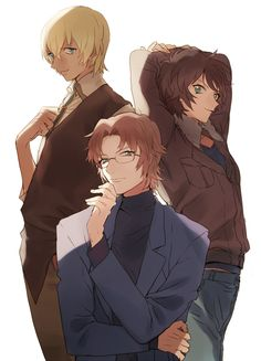 Detective Conan - Subaru, Masumi, and Tooru #handonchin #backtoback