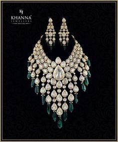 Look like a million bucks! Don this stunningly bold and gorgeous polki and diamond neck-piece and earrings by Khanna Jewellers and complete your royal bridal look. 17 May 2018 Indian Jewelry Sets, Indian Wedding Jewelry, India Jewelry, Bridal Jewelry Sets, Bridal Jewellery, Mughal Jewelry, Silver Jewellery, Antique Jewelry, Jewelery