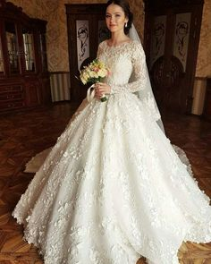 A beautiful wedding gown with floral appliques. A beautiful wedding gown with floral appliques. Modest Wedding Gowns, Muslim Wedding Dresses, V Neck Wedding Dress, Beautiful Wedding Gowns, Boho Wedding Dress, Dream Wedding Dresses, Bridal Dresses, Gown Wedding, Dresses Dresses