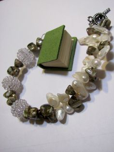 Book car accessory Green book Beaded by GreenCloverCrafts on Etsy