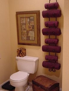 Use a wine rack as a towel holder - Click image to find more DIY  Crafts Pinterest pins