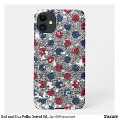 Red and Blue Polka Dotted Silver Bokeh Glitter iPhone 11 Case 4th Of July 2017, 4th Of July Party, July 4th, Independence Day Holiday, Blue Polka Dots, Online Gifts, Dog Design, Bokeh, Silver Glitter