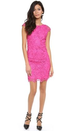 alice + olivia Clover Lace Cap Sleeve Dress