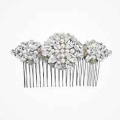 Love pearl and sand opal crystal comb (large)