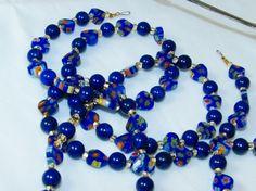 Hearts of Blue Millifiori Beaded Eyeglass Lanyard by nonie615, $30.00
