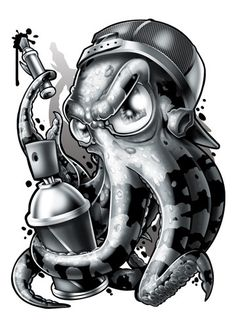 Octopus - Black and Grey Temporary Tattoos