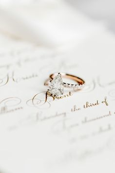 elegant pear-cut engagement ring