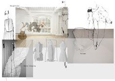 Fashion Sketchbook - fashion design process with draping development - fashion drawings; fashion portfolio layout // Emilie Hale